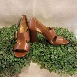 Franco Sarto Open Toe Block Heels With Buckle